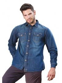 DS-01VA Double Ανδρικό πουκάμισο τζην (μεγάλα μεγέθη)
