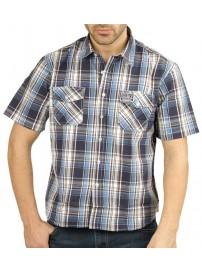 GS-280SA 13 Double Ανδρικό πουκάμισο καρό (μεγάλα μεγέθη) Χρώμα Μπλε/Σιέλ/Καφέ