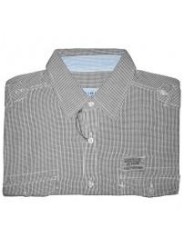 GS-170 Double Ανδρικό πουκάμισο με μακρύ μανίκι Χρώμα Μαύρο/Άσπρο
