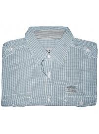 GS-170 Double Ανδρικό πουκάμισο με μακρύ μανίκι Χρώμα Γαλάζιο/Άσπρο
