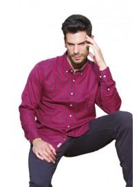 GS-415A 15 Double Ανδρικό πουκάμισο (μεγάλα μεγέθη) Χρώμα Μπλε/Κόκκινο