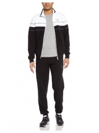 829340 03 Puma Mens Cotton Tracksuit Ft Closed Ανδρική φόρμα (black/white)