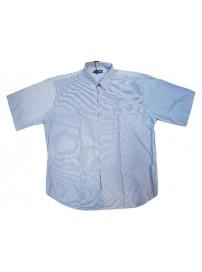 GS-119SVA 13 Double Ανδρικό πουκάμισο ριγέ (Μεγάλα μεγέθη) Χρώμα Γαλάζιο/Άσπρο