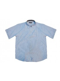 GS-121SA 13 Double Ανδρικό πουκάμισο ριγέ (μεγάλα μεγέθη) Χρώμα Γαλάζιο/Άσπρο