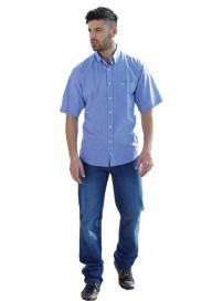 GS-332SA 14 Double Ανδρικό πουκάμισο ριγέ (Μεγάλα μεγέθη) Χρώμα Μπλε/Άσπρο ριγέ