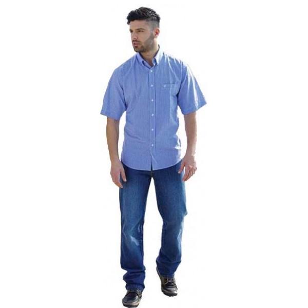 485c718b901 GS-332SA 14 Double Ανδρικό πουκάμισο ριγέ (Μεγάλα μεγέθη) Χρώμα Μπλε ...