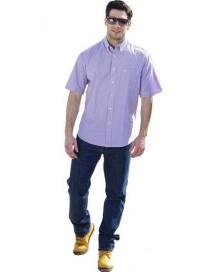 GS-332SA 14 Double Ανδρικό πουκάμισο ριγέ (Μεγάλα μεγέθη) Χρώμα Ροζ/Άσπρο ριγέ