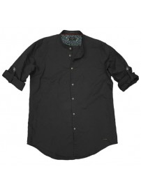 GS-483S Double Shirt Mao Collar Slim Line Χρώμα Μαύρο