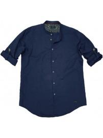 GS-483SA Double Shirt Mao Collar Slim Line (μεγάλα μεγέθη) Χρώμα Μπλε