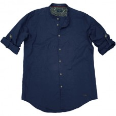 GS-483S Double Shirt Mao Collar Slim Line Χρώμα Μπλε
