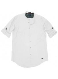 GS-483SA Double Shirt Mao Collar Slim Line (μεγάλα μεγέθη) Χρώμα Άσπρο