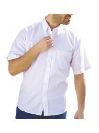 GS-4SA Double Ανδρικό κοντομάνικο πουκάμισο (μεγάλα μεγέθη) Χρώμα Άσπρο