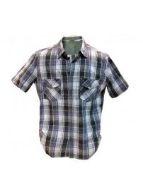 GS-217S 13 Double Ανδρικό πουκάμισο καρό Χρώμα Μωβ/Λαχανί/Ασπρο