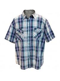 GS-217SA 13 Double Ανδρικό πουκάμισο καρό (μεγάλα μεγέθη) Χρώμα Μπλε/Ελεκτρίκ/Ασπρο