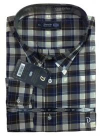 GS-291A/VA Double Ανδρικό πουκάμισο καρό (μεγάλα μεγέθη) Χρώμα Μωβ/Μαύρο
