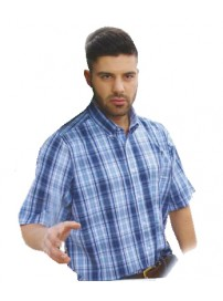 GS-309S 14 Double Ανδρικό καρό πουκάμισο (Κοντό μανίκι) Χρώμα Γαλάζιο/Άσπρο/Μπλε