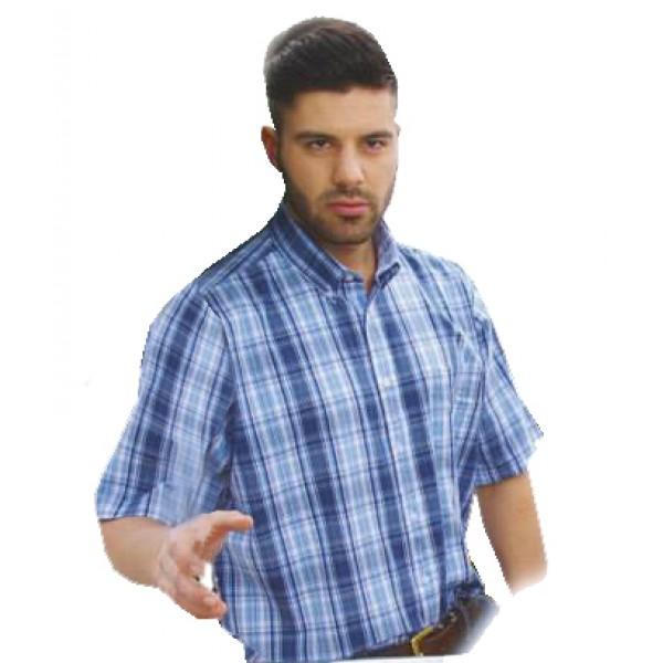 a6d2662978bd GS-309S 14 Double Ανδρικό καρό πουκάμισο (Κοντό μανίκι) Χρώμα  Γαλάζιο Άσπρο Μπλε
