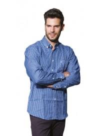 GS-393VA Double Ανδρικό πουκάμισο (μεγάλα μεγέθη) Χρώμα Μπλε/Άσπρο