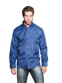 GS-394A 15 Double Ανδρικό πουκάμισο (μεγάλα μεγέθη) Χρώμα Μπλε/Μπλε ρουά