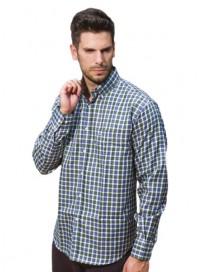 GS-396VA 15 Double Ανδρικό πουκάμισο (μεγάλα μεγέθη) Χρώμα Μπλε/Πράσινο