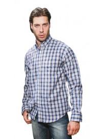 GS-396VA 15 Double Ανδρικό πουκάμισο (μεγάλα μεγέθη) Χρώμα Άσπρο/Μπλε/Καφέ