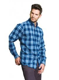 GS-409A Double Ανδρικό πουκάμισο (μεγάλα μεγέθη) Χρώμα Μπλε/Άσπρο