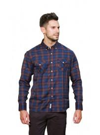 GS-414A 15 Double Ανδρικό πουκάμισο (μεγάλα μεγέθη) Χρώμα Μπλε/Μπορντώ