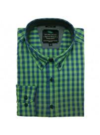GS-444A 17 Double Ανδρικό πουκάμισο (μεγάλα μεγέθη) Χρώμα Πράσινο/Μπλε ραφ