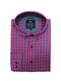 GS-444A 17 Double Ανδρικό πουκάμισο (μεγάλα μεγέθη) Χρώμα Ροζ/Μπλε ραφ