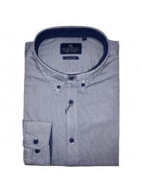 GS-448A 17 Double Ανδρικό πουκάμισο (μεγάλα μεγέθη) Χρώμα Γαλάζιο/Άσπρο