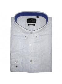 GS-448A 17 Double Ανδρικό πουκάμισο (μεγάλα μεγέθη) Χρώμα Άσπρο/Γαλάζιο