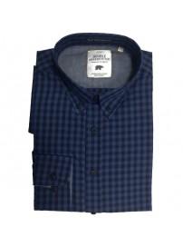 GS-456A Double Ανδρικό καρό πουκάμισο (μεγάλα μεγέθη) Χρώμα Μπλε/Μπλε