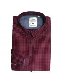 GS-456A Double Ανδρικό καρό πουκάμισο (μεγάλα μεγέθη) Χρώμα Κόκκινο/Μπλε