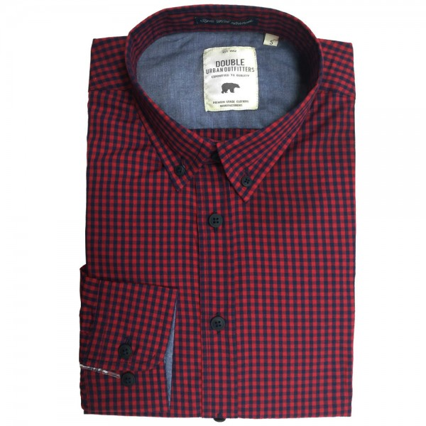 a5a2dd6f20c9 GS-456A Double Ανδρικό καρό πουκάμισο (μεγάλα μεγέθη) Χρώμα Κόκκινο Μπλε