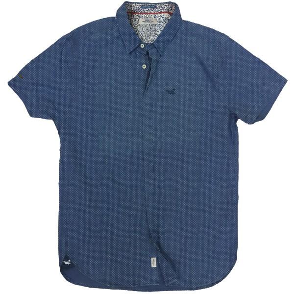 GS-461SA 18 Double Ανδρικό πουκάμισο (μεγάλα μεγέθη) Χρώμα Μπλε ραφ Λευκό 11fd370727d