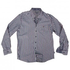 GS-473A Double Ανδρικό πουκάμισο (μεγάλα μεγέθη) Χρώμα Μπορντώ/Μπλε