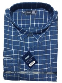 GS-87VA Double Ανδρικό πουκάμισο (μεγάλα μεγέθη) Χρώμα Μπλε/Μαύρο/Άσπρο