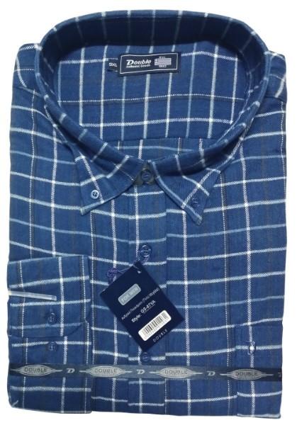 GS-87VA Double Ανδρικό πουκάμισο (μεγάλα μεγέθη) Χρώμα Μπλε Μαύρο Άσπρο f2df9fd6c1d