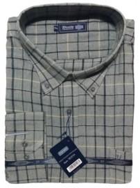 GS-87VA Double Ανδρικό πουκάμισο (μεγάλα μεγέθη) Χρώμα Γκρι/Μπλε