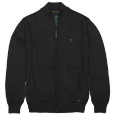 KNIT-32A Double Half-Zip Knit Cardigan (μεγάλα μεγέθη)(black)