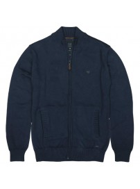 KNIT-32 Double Half-Zip Knit Cardigan (navy)