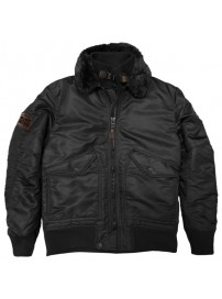 MJK-123A Double Fly Bomber Jacket (black) (μεγάλα μεγέθη)