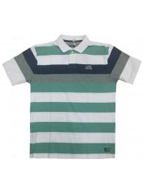 PS-203SA Double Ανδρική μπλούζα πόλο (μεγάλα μεγέθη) Χρώμα Άσπρο/Πράσινο
