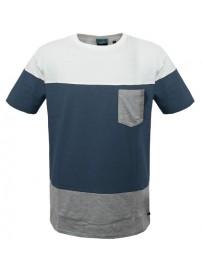 TS-44A 17 Double Ανδρικό t-shirt (μεγάλα μεγέθη) Χρώμα Λευκό/Μπλε/Γκρι