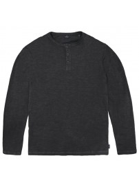 TS-144 Henley Flama Washed Long Sleeve T-Shirt (Black)