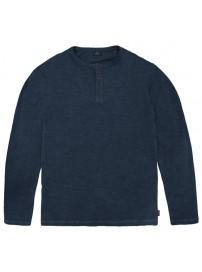 TS-144 Henley Flama Washed Long Sleeve T-Shirt (Blue)
