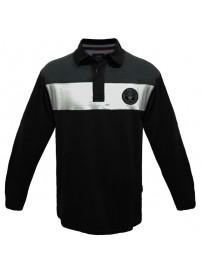 PS-206 Double Μπλουζάκι polo Jersey ριγέ Χρώμα Μαύρο