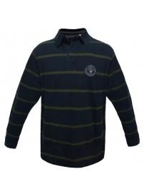 PS-206 Double Μπλουζάκι polo Jersey ριγέ Χρώμα Μπλε σκούρο/Χακί