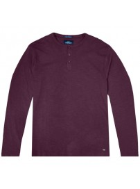 TS-107A Double T-shirt Henley Flama Washed (μεγάλα μεγέθη)(bordeaux)