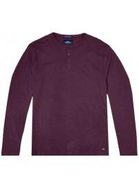 TS-107VA Double T-shirt Henley Flama Washed (μεγάλα μεγέθη)(bordeaux)